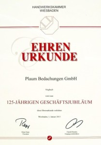 Urkunde 125 Jähriges Jubiläum